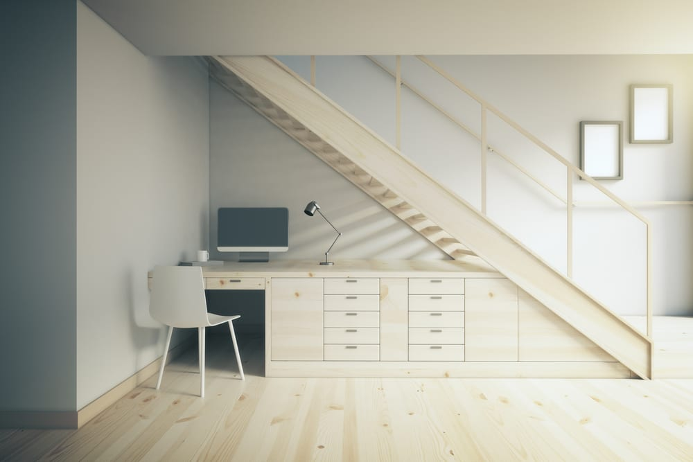 home office space under the stairs
